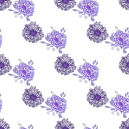 Romantic beautiful linear flowers of daisies, chrysanthemums. Print wrapping monochrome. Organic vector pattern background.