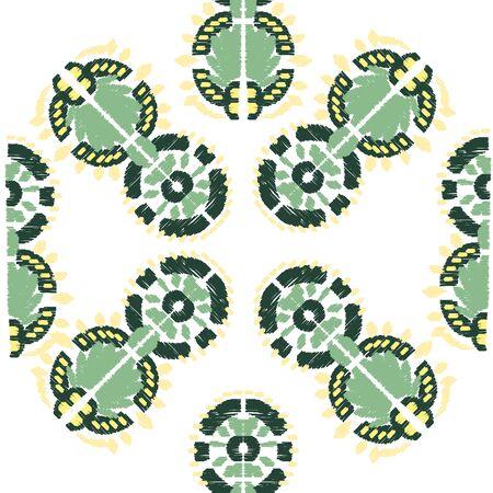 Square scarf ethnic ornate print silk.  Shawl ikat  embroidery autentic fabric ornament carpet.  일러스트