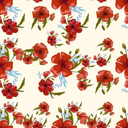 seamless pattern simple  red poppies. Scattered red flowers  vector pattern background. 免版税图像 - 141425999