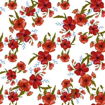 seamless pattern simple  red poppies. Scattered red flowers  vector pattern background. 免版税图像 - 142053458