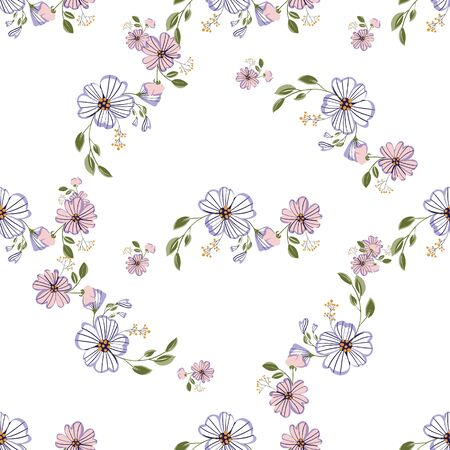 Fashionable cute pattern in nativel flowers. Floral seamless background for textiles, fabrics, covers, wallpapers, print, gift wrapping or any purpose Vektorové ilustrace