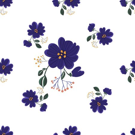 Seamless pattern with colorful hand drawn flowers. Original textile, wrapping paper, wall art surface design. Vector illustration. Floral simple minimalistic graphic design. Vettoriali