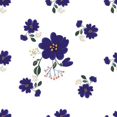 Modèle sans couture avec des fleurs colorées dessinées à la main. Textile original, papier d'emballage, conception de surface d'art mural. Illustration vectorielle. Conception graphique minimaliste simple florale. Vecteurs