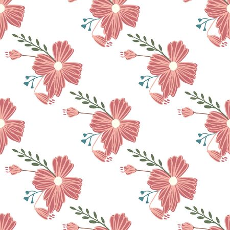 Simple cute floral bouquet vector pattern with small and medium flowers and leavesFor fashion prints