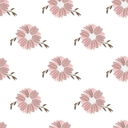 Seamless pattern with abstract flowers. Creative color floral surface design. Vector background. Illustration