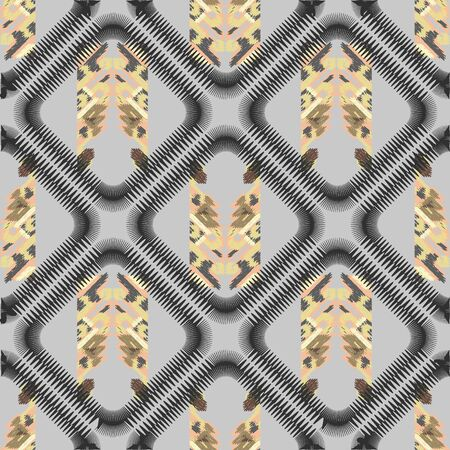 Drapery curves pagan tripe seamless pattern. Indian old surface background. Vector ornament. Pastel color