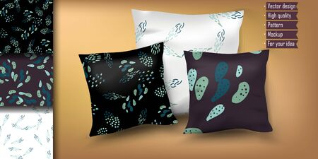 trendy geometric hand drawn dot element for pillow. Mockup for your idea