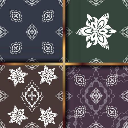 Set of geometric textile ornament seamless patterns oriental bold fabric print. Floral surface design. Vecteurs