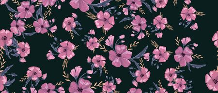 Fashionable cute pattern in native popies flowerson darck background. Flower seamless surface design for textiles, fabrics, covers, wallpapers, print, gift wrapping or any purpose Ilustração