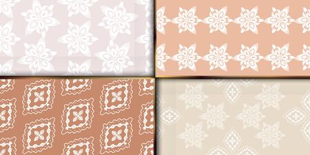 Set of geometric textile ornament seamless patterns oriental bold fabric print. Floral surface design.