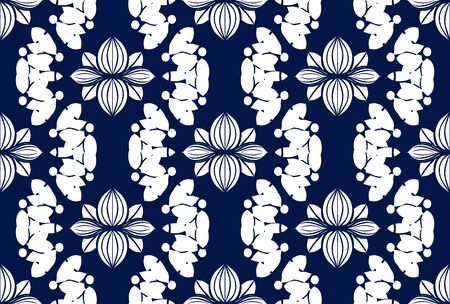 White ornament on blue seamless pattern. Vintage, paisley elements. Ornamental traditional, ethnic, turkish. Great for fabric and textile, wallpaper, packaging or any idea Vector Illustratie