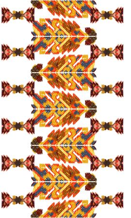 colorful ikat painted texture Drapery curves pagan tripe seamless pattern. Indian old surface background. Vector ornament.