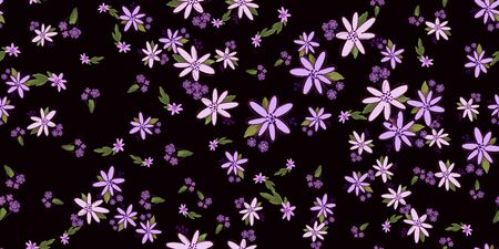 Simple cute floral bouquet vector pattern with small and medium flowers and leaves. For fashion prints.