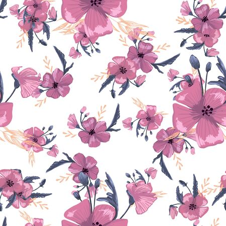 Fashionable cute pattern in native popies flowers. Flower seamless background for textiles, fabrics, covers, wallpapers, print, gift wrapping or any purpose Ilustracje wektorowe