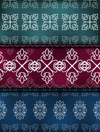 Set Vector damask seamless pattern background. Ornament silhouette. Tribal victorian style Illustration