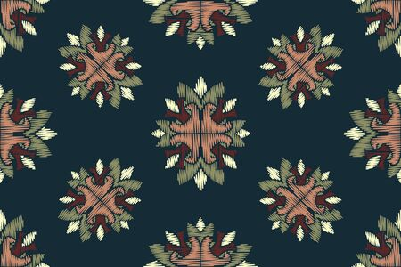 Colorful Ikat ornamentel seamless pattern for textile, wallpaper, card or wrapping paper. Vettoriali