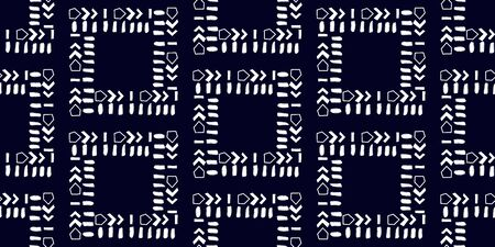White modern stripes on blue background, seamless pattern hand drawn surface design for home.