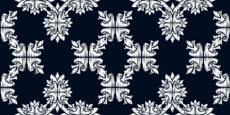 Uzbek ikat silk fabric pattern, motif ethnic indigo blue and white colors. Tite repit pattern.