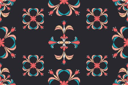 Ikat colorful seamless ornament pattern. Ethnic indigo tite repit background for textile, wallpaper, card or wrapping paper.  イラスト・ベクター素材