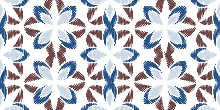 Colorful Ikat ornamentel seamless pattern for textile, wallpaper, card or wrapping paper. Tile for surface design
