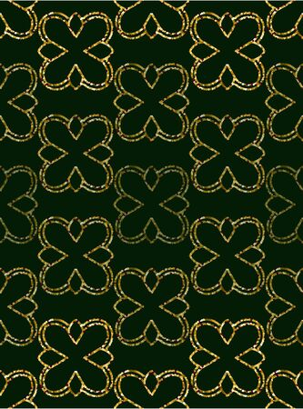 ornament gold glitter wallpaper in the style of Baroque. Seamless vector for fabric, packaging. Ornate Damask Foto de archivo - 149074562