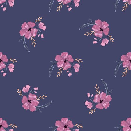 Fashionable cute pattern in native popies  flowerson darck background. Flower seamless surface design for textiles, fabrics, covers, wallpapers, print, gift wrapping or any purpose