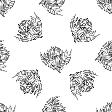 Fashionable cute pattern in native chamomile and lotus  flowers. Flower seamless background for textiles, fabrics, covers, wallpapers, print, gift wrapping or any purpose