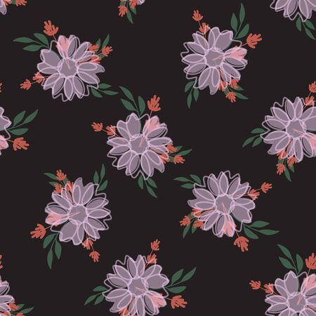 Seamless pattern with colorful hand drawn flowers. Original textile, wrapping paper, wall art surface design. Vector illustration. Floral simple minimalistic graphic design Çizim