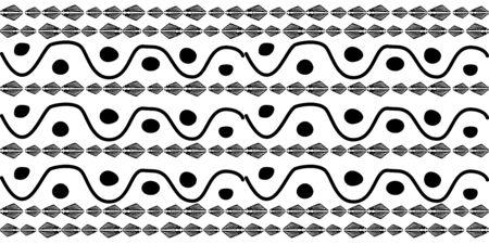 Black hand drawn stripes seamless monohrome pattern. Different elements  イラスト・ベクター素材