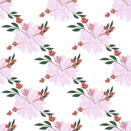 Fashionable cute pattern in native flowers on color background. Flower seamless surface design for textiles, fabrics, covers, wallpapers, print, gift wrapping or any purpose Çizim
