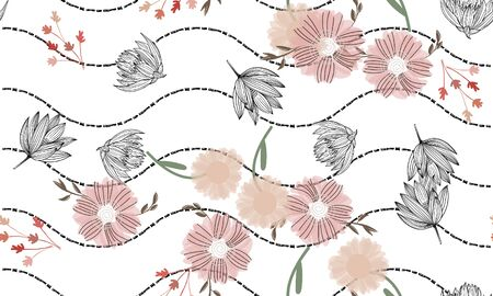 Floral seamless background for textiles, fabrics, covers, wallpapers, print, gift wrapping or any purpose
