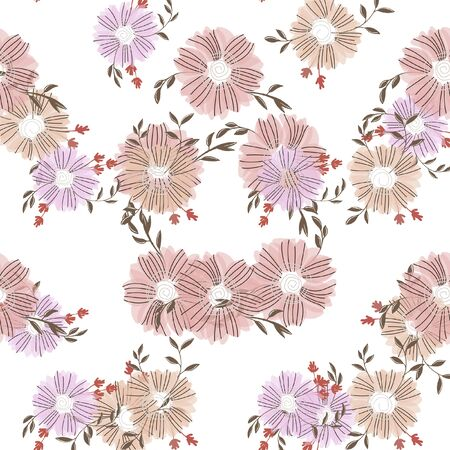 Seamless pattern with abstract flowers. Creative color floral surface design. Vector background.