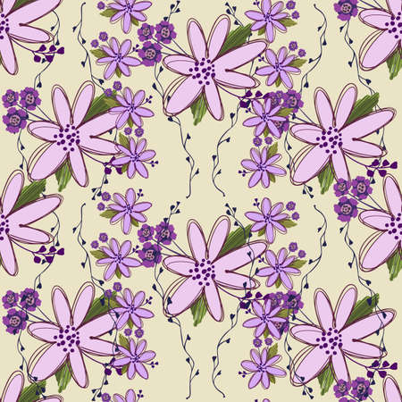 Simple cute floral bouquet vector pattern with small and medium flowers and leaves. For fashion prints.  イラスト・ベクター素材