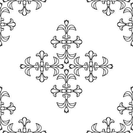 Vector elegan ornate tile seamless pattern. White and black background Retro hindu monochrome motif