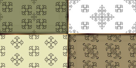 Set damask pattern. wallpaper decorative ornament texture