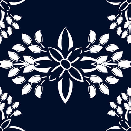 White ornate on blue luxury background. Damask style vector pattern. Renaissance surface design