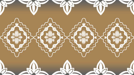 White ornament on gold background Wallpaper in the style of Baroque. Seamless vector for fabric, packaging. Ornate Damask