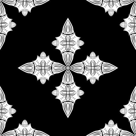 White ornament on black background Vector damask seamless retro pattern wallpaper geometry. Luxury ornate. Classic decor ornate.
