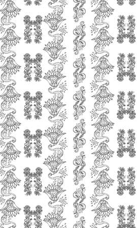 Stylish white floral kalamkari ornament pattern on black background. Vector surface design for fabric, apparel textile, book, interior, wallpaper