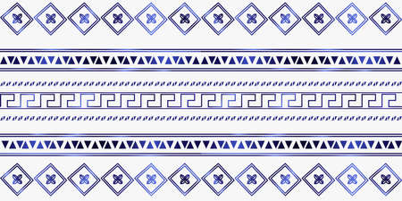 trendy stripes pattern Vector blue line hand drawn seamless