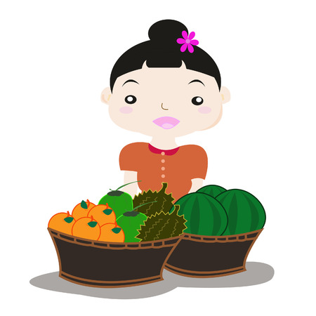 vendors: Many vendors selling fruit cart Illustration