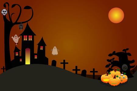 Halloween pumpkins with a skull demon castle Vector