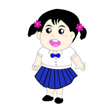 employment elementary school: Cute girls Wearing a school uniform