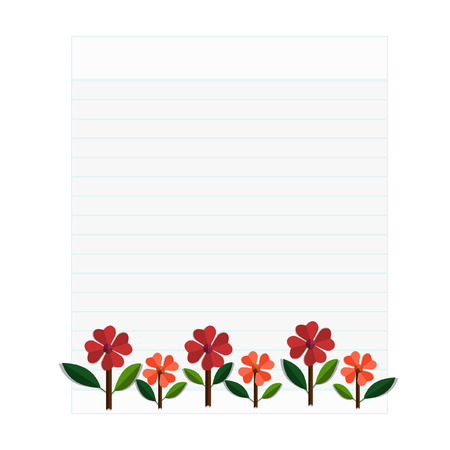 Paper flowers.Spring card - Illustration Vector