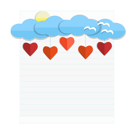 paper clouds and paper hearts on book background - Illustration Vector