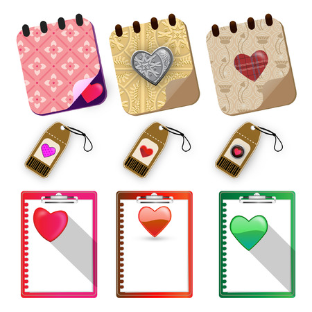 Hearts paper labels set - Illustration Vector