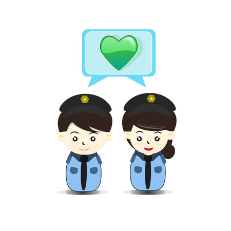 security staff: police couple - Illustration