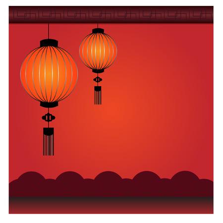 peach blossom: Chinese Lantern Background - Illustration