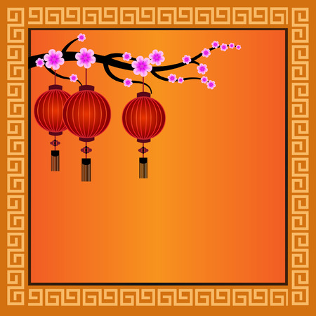 peach blossom: Chinese Lanterns with frame - Illustration