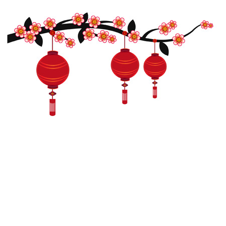 Chinese lantern in white background